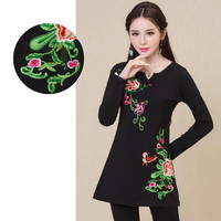 M 5XL Plus Size Brand New Autumn Women Cotton And Linen Clothing Flower Pattern Hot Sale