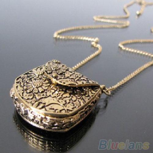 Fashion lychee japan sailor moon faux crystal gold color cartoon vintage necklace unique bag shape carved bronze locket chain pendant long necklace 1ska aloadofball Images