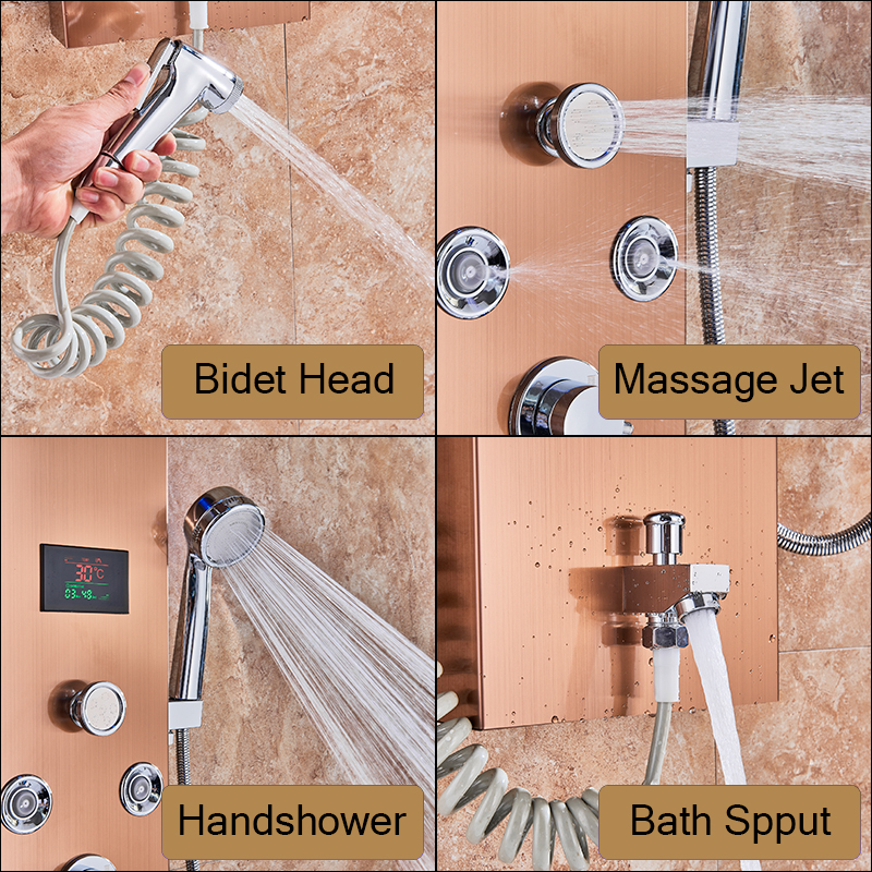 HTB1Y4 nJYvpK1RjSZPiq6zmwXXaW LED Light Shower Faucet Bathroom Waterfall Rain Black Shower Panel In Wall Shower System with Spa Massage Sprayer and Bidet Tap