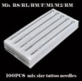 new 100pcs tattoo needles mixed size disposable tattoo needles 11RL 13RL 15RL 13RS 15RS 15M2 RM MIX Set secant agulhas tatuagem