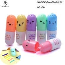 6 pçs/set mini pílula em forma de canetas highlighter para escrever bonito rosto graffiti marcador caneta papelaria coreano escola material de escritório