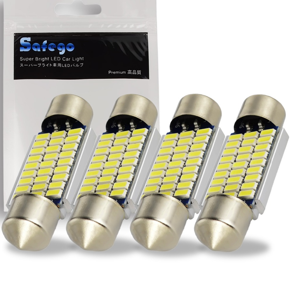 Safego 4pcs C5W LED 36mm 39mm 42mm Festoon CANBUS 3014 NO ERROR Car LED Dome Interior Lights Lamp Auto Map Roof Reading Bulbs 10pcs lot festoon canbus 36mm c5w error free 5730 9 smd led bulbs car interior lamp dome reading lights white blue free shipping