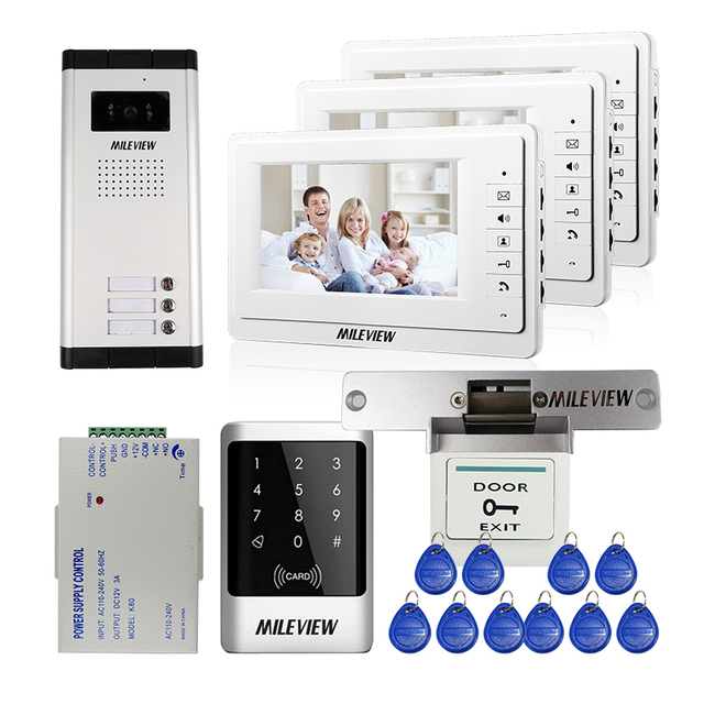 MILEVIEW 7\  Video Intercom Door Phone 3 Monitors Door Bell Camera for 3 Family Apartment  sc 1 st  AliExpress.com & MILEVIEW 7\