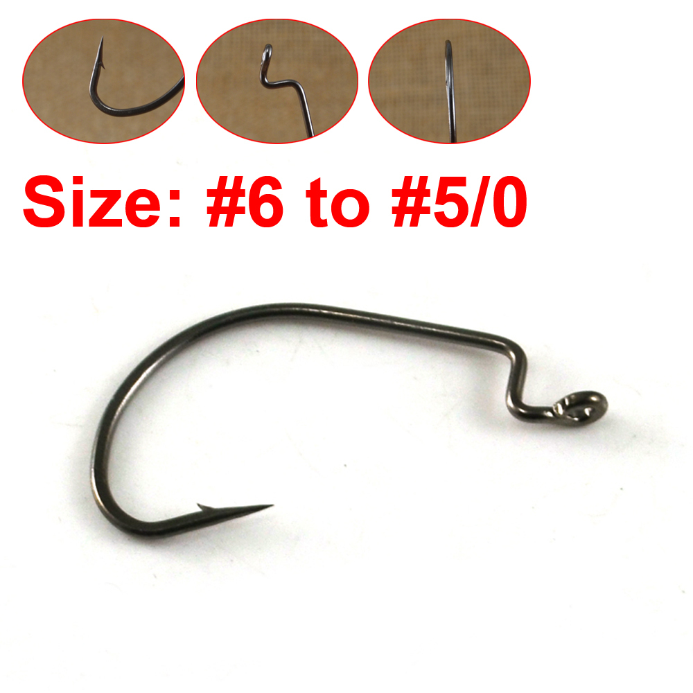 50pcs lot offset crank worm hook for bass fishing high for Fishing hook sizes for bass