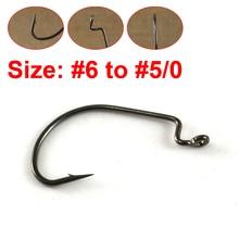 50PCS/Lot Offset Crank Worm Hook for Bass Fishing High Carbon Swimbait Grub Fish Hook Wide Gap Size 6 4 2 1 1/0 -5/0 [YG82306]