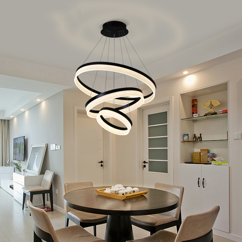 Modern LED living dining room pendant lights suspension luminaire suspendu circle rings pendant lamp fixtures de techo colgante a1 master bedroom living room lamp crystal pendant lights dining room lamp european style dual use fashion pendant lamps