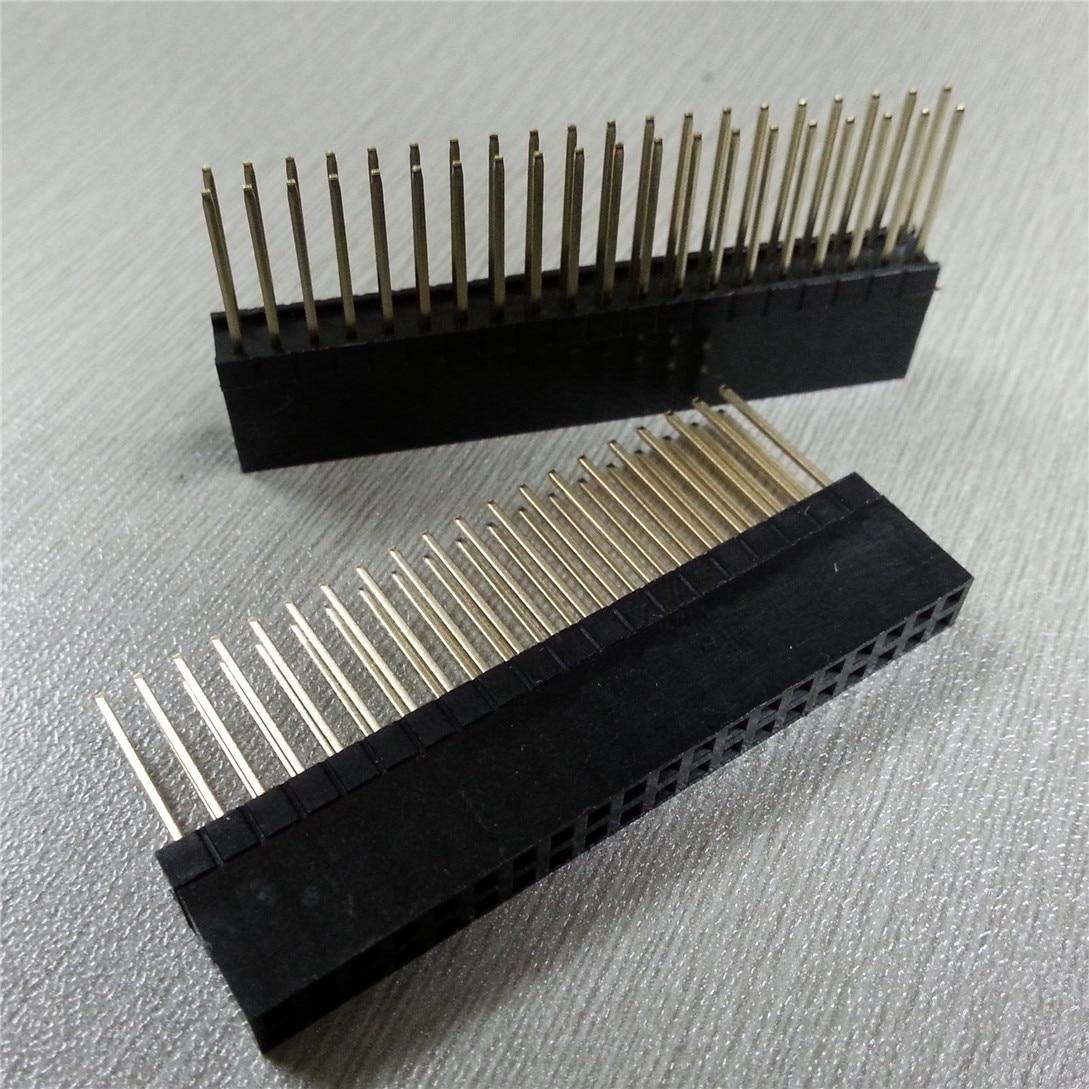 5PCS PC104 2x20 Pin Double Row Straight Female Pin Header 2.54MM Pitch Pin Long 12MM Strip Connector Socket 2*20 40 PIN 2x20pin