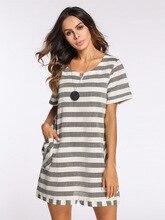 ФОТО new women retro style cotton hemp striped dress ladies elegant fashion dress stripe cotton dress