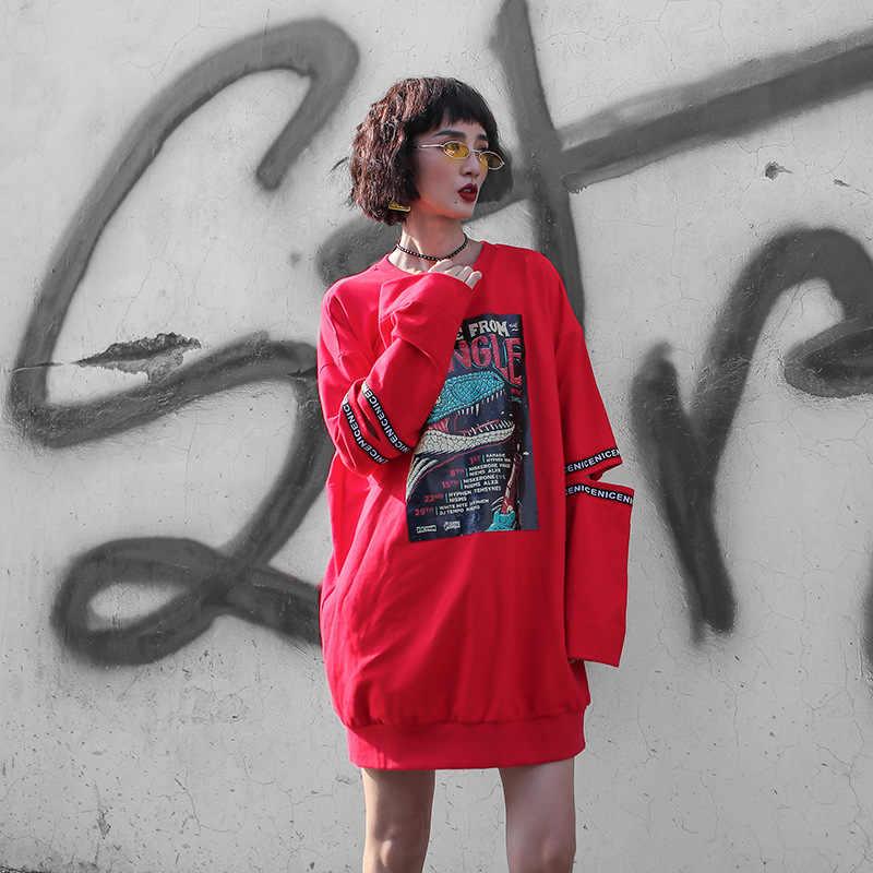 Хип-хоп женские толстовки Женский трикотажный хлопчатобумажный пуловер Femmes повседневные забавные свободные осенние удобные топы для девочек 2019 Новая мода