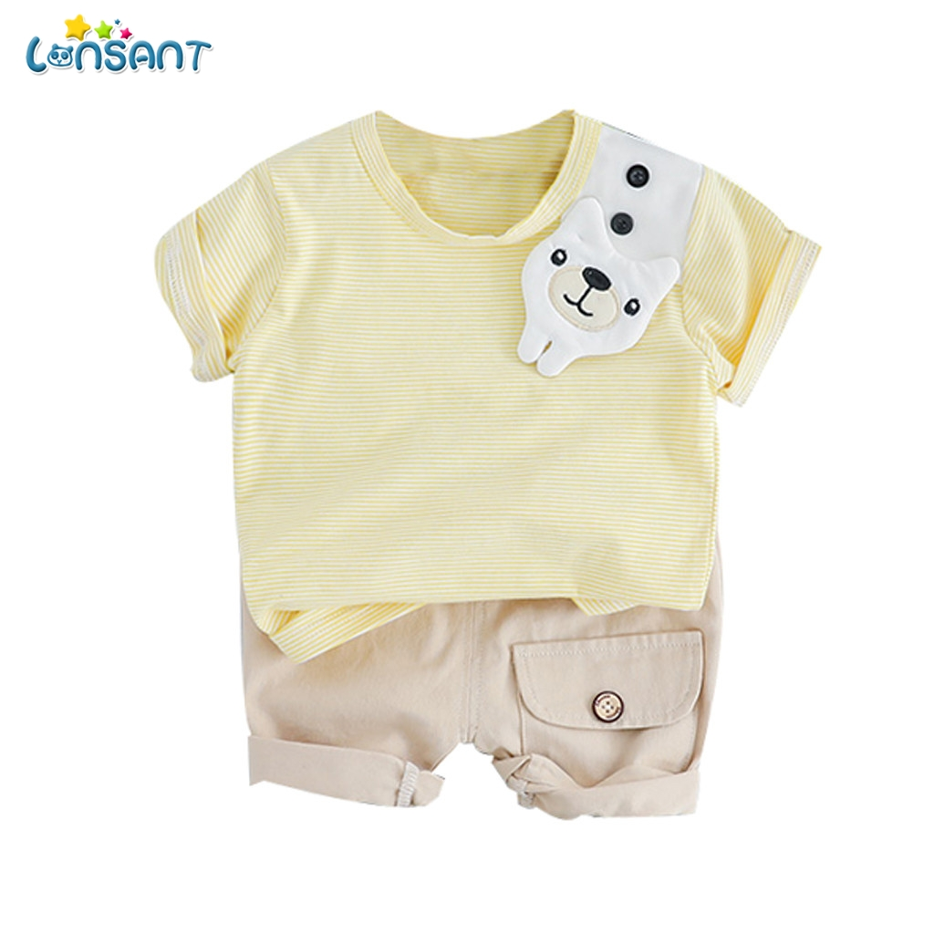 United Lonsant Baby Boys Clothes Sets Summer Cotton Beach Set Printed Child Sets 2pcs T Shirt+shorts Pants Children Suit N30 Boys' Baby Clothing