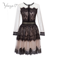 Young17 Lace Dress Women Black O Neck Short Long Sleeve A Line Zipper Elegant Beauty Sexy