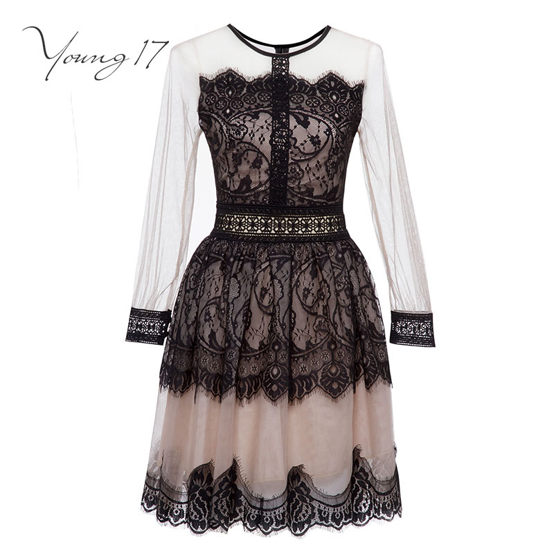 Young17 Lace Dress Women Black O Neck Short Long Sleeve A Line Zipper Elegant Beauty Sexy