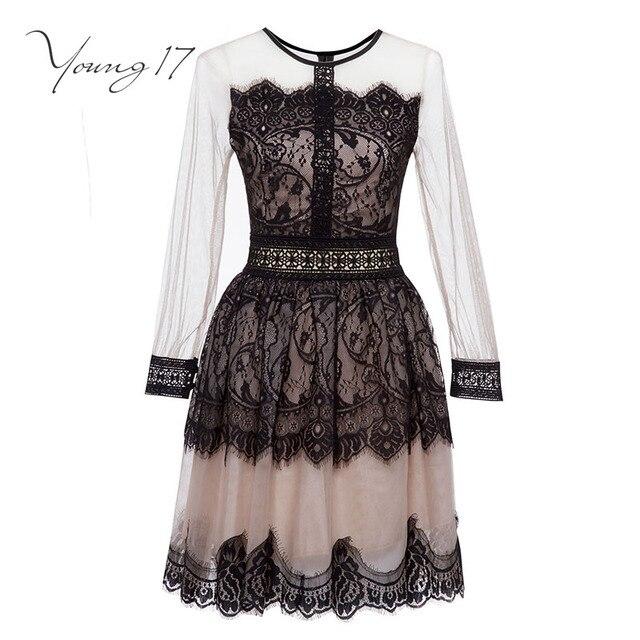 Young17 кружевное платье женские черные О-образным вырезом с коротким Длинные рукава линия застежки-молнии элегантный салон сексуальные Клубные женские Новинка осени кружевное платье