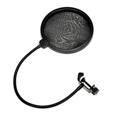 Microphone Pop Filter Dual Mesh Screen Windscreen Studio Environment Device for Essential Record with Flexible Gooseneck Holder
