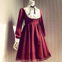 2015 Beautiful Gothic Lolita dress Long sleeve dress for women Cosplay costumes Retro skirts ALT27