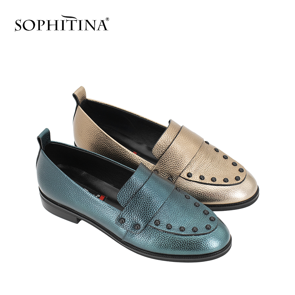 SOPHITINA Top Quality Handmade Woman Flats Green Golden Sheepskin Casual Shoes Round Toe Low Heel Genuine Leather Lady Flats P11 mint green casual sleeveless hooded top