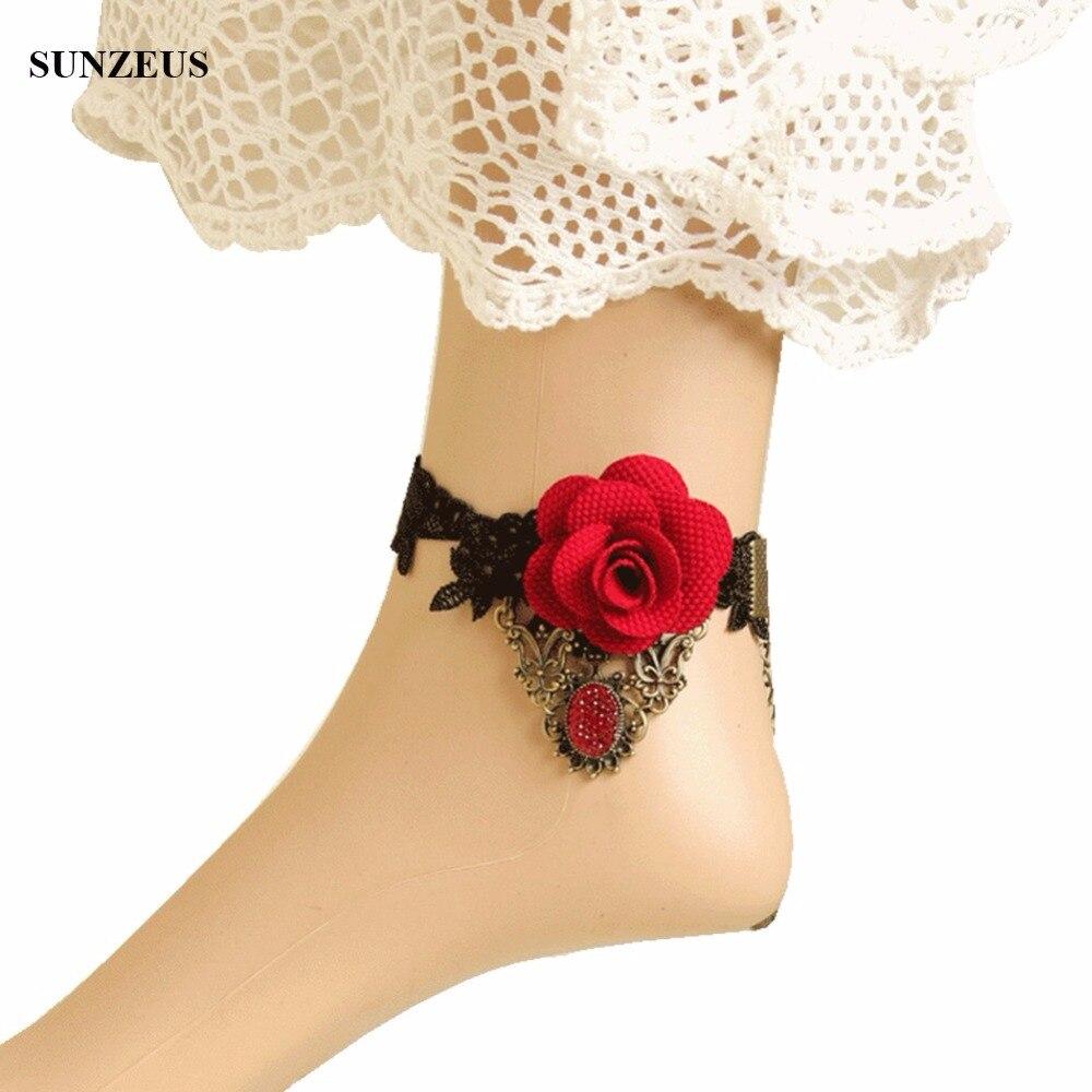 1 Para Gotik Hand-made Diy Fashion Fuß Kette Braut Handschuhe Mit Roten Blumen Fußkettchen Kostenloser Versand Fi024