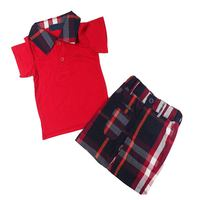 Red Short Sleeve T Shirt Shorts Casual Summer Kids Clothes Boys Sets Children Clothing Conjunto Menino