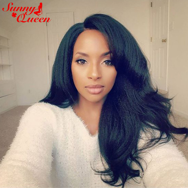 250 Density Italian Yaki Lace Front Human Hair Wigs With Combs And