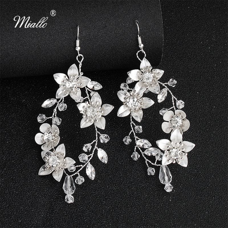 Miallo New Arrivals White Pear Flowers Bridal Earrings Austrian Crystal Handmade Wedding Earrings for Bride Bridesmaids Women