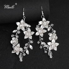 Miallo New Arrivals White Pear Flowers Bridal Earrings Austrian Crystal Handmade Wedding for Bride Bridesmaids Women