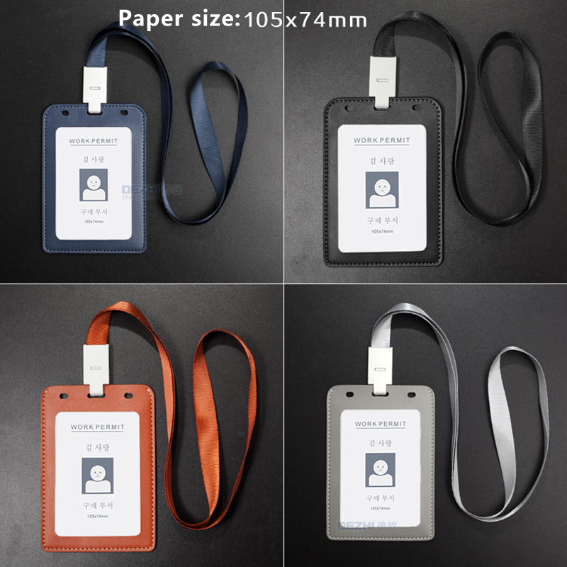 105x74mm Vertical PU Leather Business Card Holder With Original Lanyard For Bank Cards Pocket Money, 1 Or 2 Window Optional