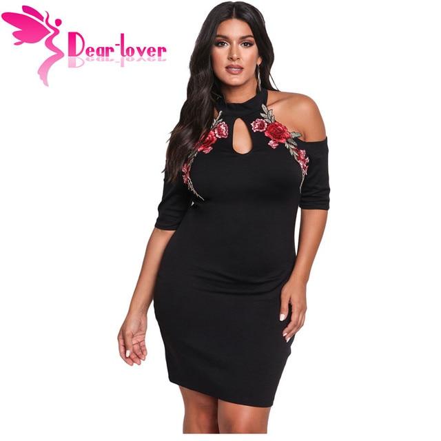 a1a5b24356139 Dear Lover Bodycon Dress Plus Size Rose Applique Cold Shoulder Black Mini Dress  Large Women Clothing Big Size Vestidos LC220129