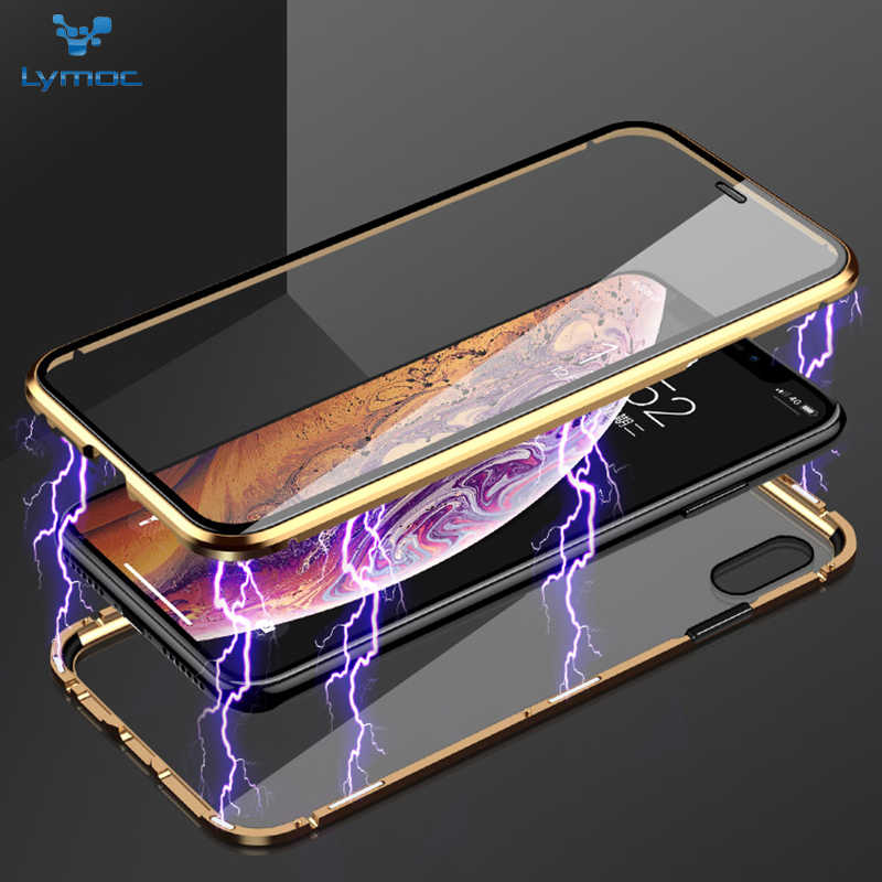 LYMOC New Phone Case For iPhone X Xs MAX Shockproof Metal Case for iPhone XR 7 8 Plus Full Cover Tempered Glasslus Magnetic Case