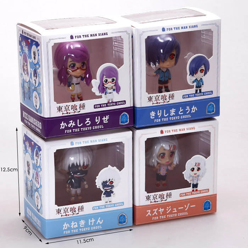 US $18 45 10% OFF|Good PVC 4 Styles Tokyo Ghoul Action Figure Anime Mask  Ken Kaneki Model Rize Kamishiro Touka Kirishima Juzo Toy Children Gift-in