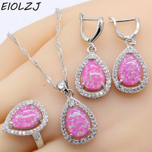 925 Sterling Silver Jewelry Sets For Women Water Drop Pink Fire Australia Opal Necklace Dangle Earrings Ring Rings Free Gift Box(China)