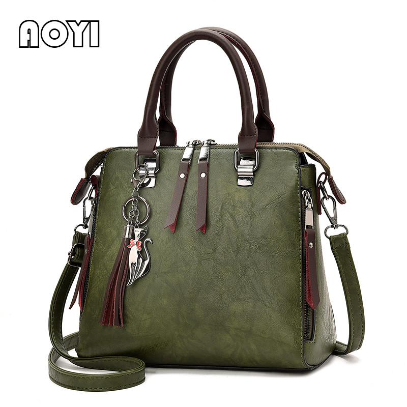 AOYI Women Handbag Famous Brand PU Leather Lady Handbags Luxury Shoulder Bag Large Capacity Crossbody Bags Women Casual Tote Sac women designer leather smiley trapeze handbag luxury lady smiling face purse shoulder bag girl crossbody bag sac femme neverfull