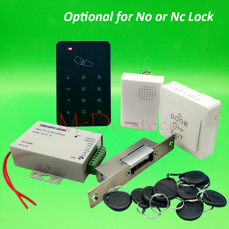 DIY Rfid Door Access Control Kit Set With Narrow Type Electric Strike Lock Ys131 +10 RFID Keyfob Card Full Access Control System