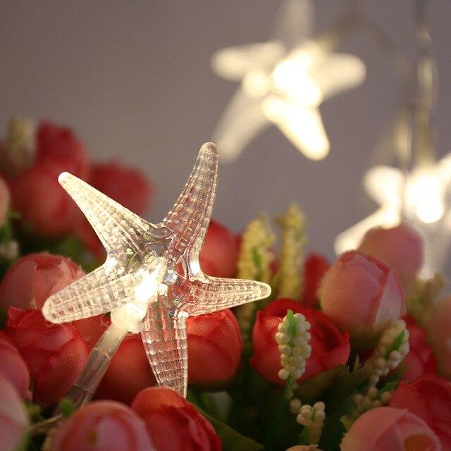 LED Fairy String Lights Battery Operated Starfish Novelty Scallop shells string light Seashell Garland Beach IY310252