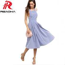 Women Sexy Striped Midi Summer Dress 2017 New Blue Square Neck Sleeveless Crisscross Back A Line Beach Halter Party Wear Dresses