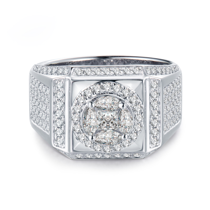 LANMI Solid 18Kt White Gold Diamond Mens Wedding Rings Real Princess cut, Marquise cut Round Cut Diamond Jewelry