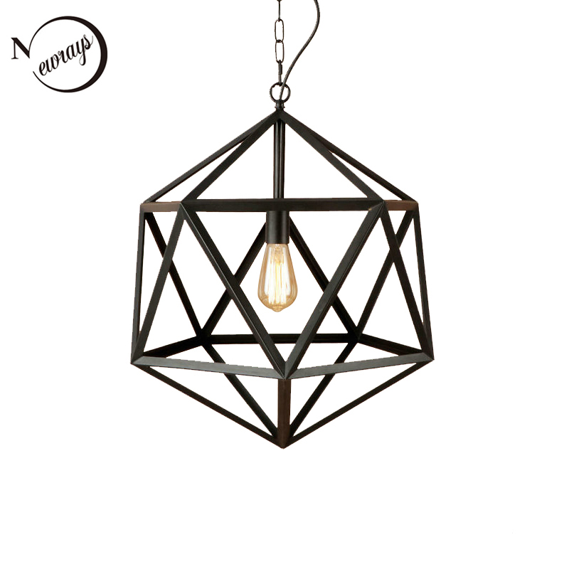 Vintage Polygon Iron Cages Rust Color LED Pendant Lights E27 110V 220V Hanging Lighting Fixture For Kitchen Living Room Bedroom led industrial vintage lighting iron light 110 220v home lighting living room hanging e27 fixture porch chandeliers luminaria