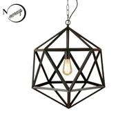 Vintage Polygon Iron Cages Rust Color LED Pendant Lights E27 110V 220V Hanging Lighting Fixture For Kitchen Living Room Bedroom