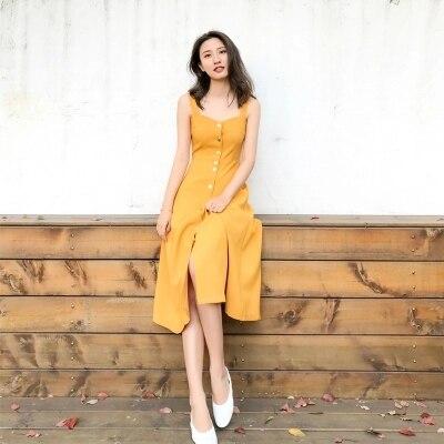 2018 Women Summer Yellow Halter Neck Sleeveless Beach Summer Dress Sundress V-Neck Strap Maxi Vintage Dress for Women