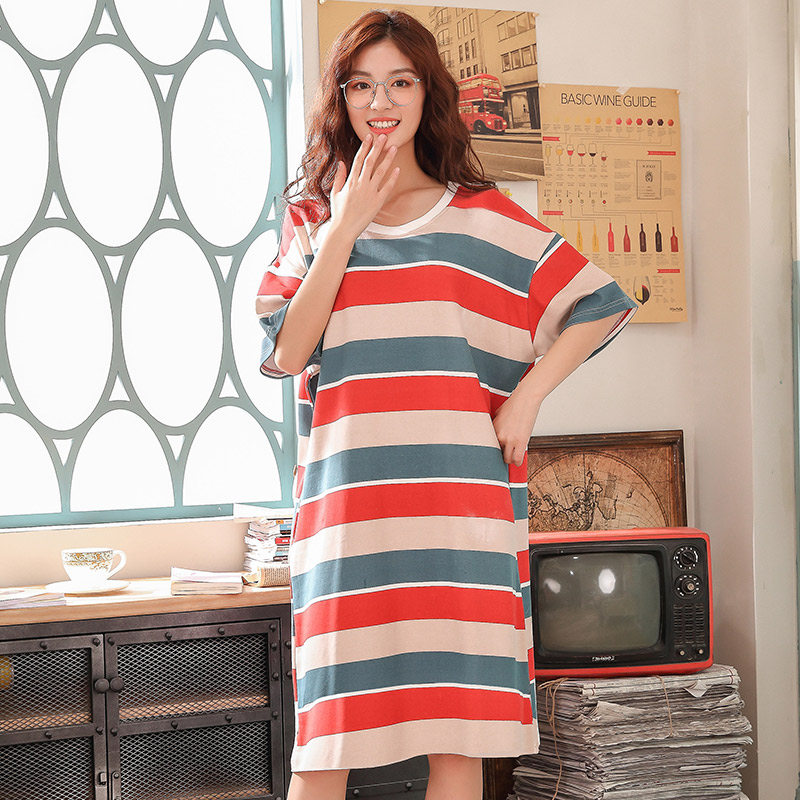 Nightgowns   &   sleepshirts   women hot Ladies short sleeved cotton nightdress female sleeping striped summer dresses for women