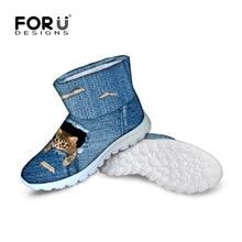 FORUDESIGNS Милые женские сапоги из синей джинсовой ткани с изображением котенка домашних животных теплая зимняя высокая женская обувь на меху ковбойские женские зимние ботильоны