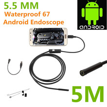 Android USB Endoscope 6 LED 5.5mm Lens Waterproof Inspection Borescope Tube Camera with 5M Cable