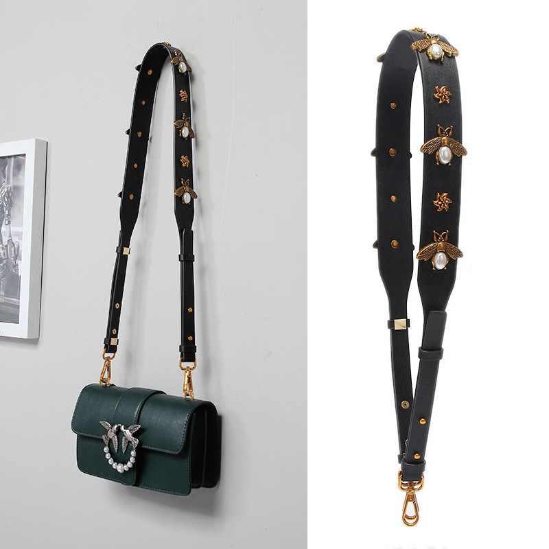 4ab485f7e26a Fashion Gold Bee Leather Strap Handbag Accessories Replacement Wide  Shoulder Bag Straps Women Design Corssbody Bag