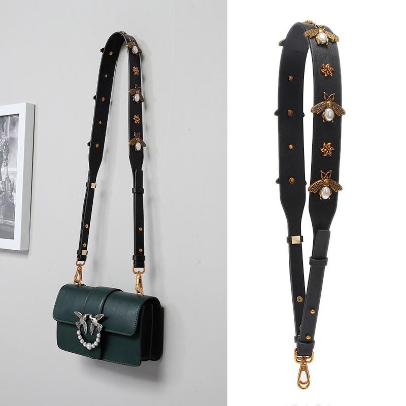 Fashion Gold Bee Leather Strap PU Handbag Accessories Replacement Wide Shoulder Bag Straps Women Design Corssbody Bag Strap Belt