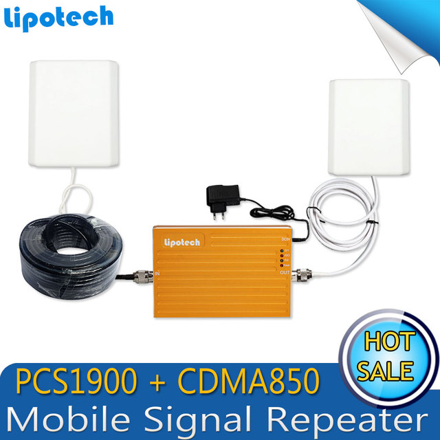 Conjunto completo!! Dual Bnad 2G + 3G CDMA850 PCS1900mhz móvil celular amplificador de señal del repetidor del teléfono celular amplificador para la oficina, casa