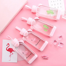 Baroque Flamingo Glass Water Bottle Creative Cactus Cup Flat Square Milk Mug Coffee Portable Drinking