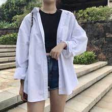 Shirts Women Solid Simple Korean Pocket Loose All-match Fashion Shirt Womens Summer Sun Protection BF Style New Ladies Casual