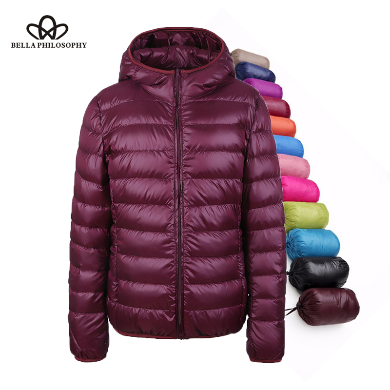 Bella Philosohy Winter Ultra Light Women Down Coats Hooded 90% White Duck Down Jacket Thin Slim Parka Female Feather Jacket
