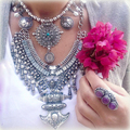2 Colors Luxury Brand Fashion Chunky Statement Necklace Punk Retro Silver Gold Rhinestone Anchor Choker Necklaces Women Jewelry