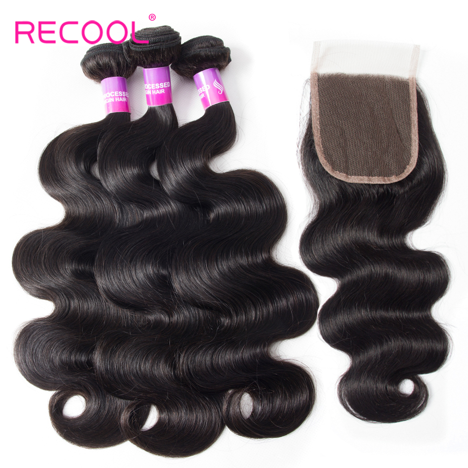 HTB1Y4cyqlcHL1JjSZJiq6AKcpXac Recool Hair Body Wave Bundles With Closure Remy Hair 6x6 and 5x5 Bundles With Closure Peruvian Human Hair 3 Bundles With Closure
