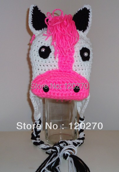 Free Shipping Infant Childrens Crochet Horse Hat Newborn Photo